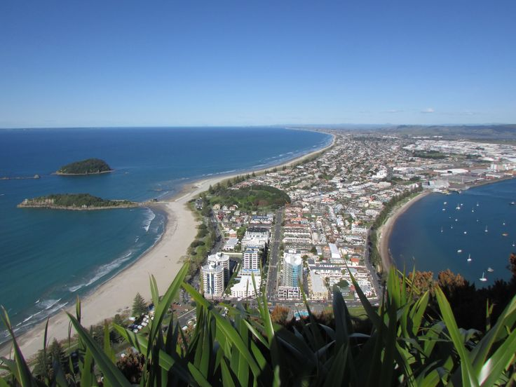 View of Mt Maunganui, New Zealand, from the top of Mauao