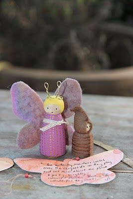 Little butterfly child  Purchase a kit on ETSY - http://www.etsy.com/listing/91615799/butterfly-wooden-peg-doll-kit-hand
