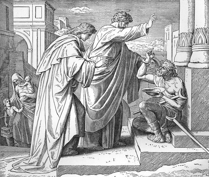 Bilder der Bibel – Wunder auf einem Lahmen – Julius Schnorr von Carolsfeld   – Bilblische Bilder und Zeichnungen