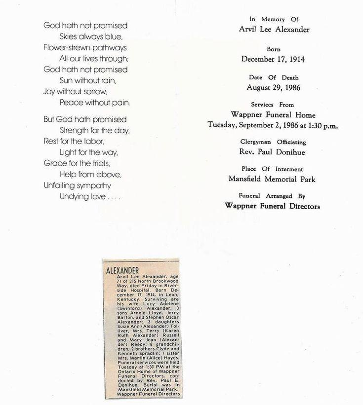 Funeral Service Program And Newspaper Death Notice For Arvil Lee Alexander.  Https://  Burial Ceremony Program