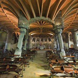 Guell Crypt. 1908-1914. Chapel in the Colonia Guell in Santa Coloma de Cervello (Catalonia). Antoni Gaudi.