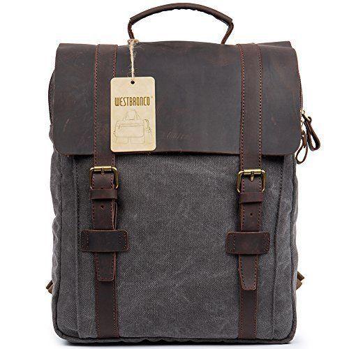 Vintage Backpack Casual Leather Canvas School Bag Retro Unisex Travel Bag NEW #VintageCasualLeatherBackpack