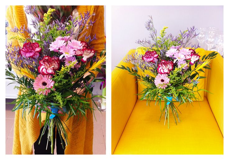 Very colorful and natural bouquet composed of #carnations, #gerbera, #goldenrod, #corn and #limonium