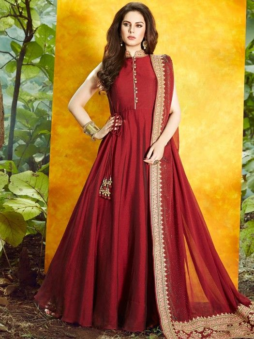 5a7e151d0c Shop Maroon color satin silk anarkali suit online from G3fashion India.  Brand - G3, Product code - G3-WSS00501, Price - 9999, Color - Maroon,  Fabric - Satin ...