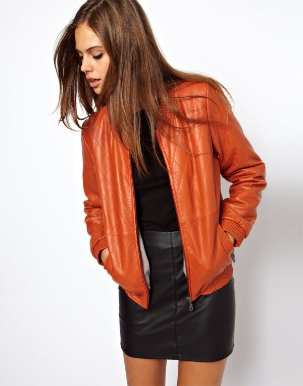 Selected Quilt Leather Jacket in Orange | Women's Fashion - Winter ...