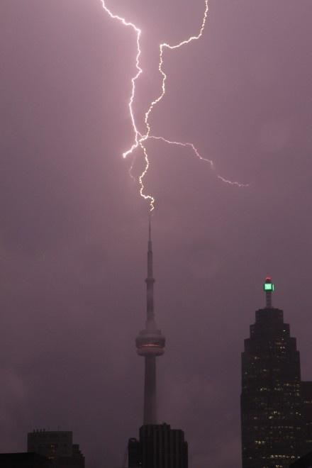 Lightning strikes CN Tower August 24, 2011