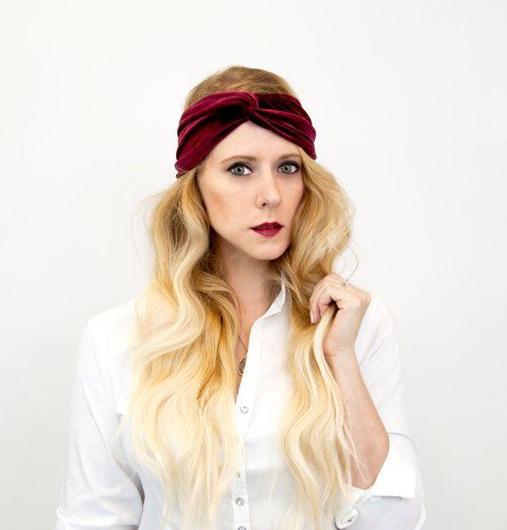 Twist Velvet Headband, Burgundy Headband, Twist Headband Wife Gift for Her Womens Gift Turban Adult Headband Maroon Headband Winter Headband