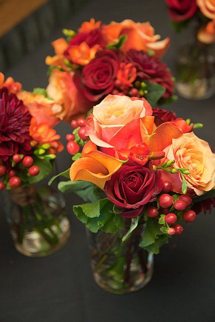 Small Bridesmaids Bouquets: Orange And Red Roses, Red Hypericum Berries (no  Orange Calla Lilies Or Red Freesia)