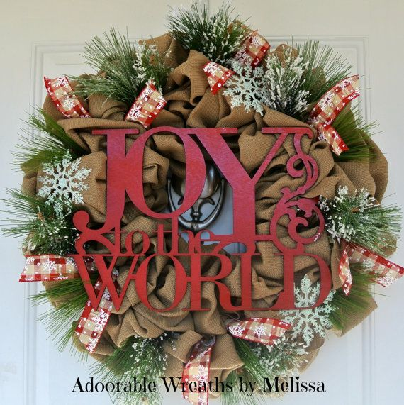 Joy to the World Christmas Wreath Adoorable Wreaths by Melissa