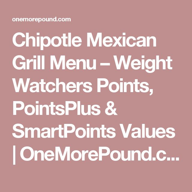 Chipotle Mexican Grill Menu – Weight Watchers Points, PointsPlus & SmartPoints Values | OneMorePound.com