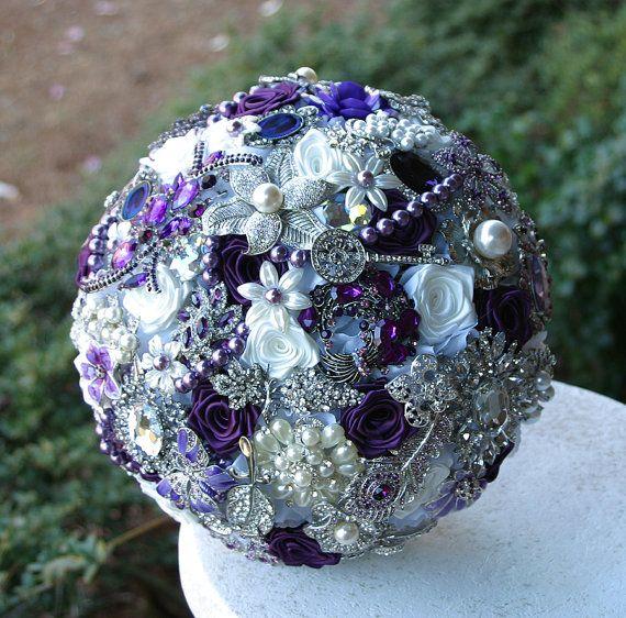 Purple Wedding Brooch Bouquet. Deposit on a made by annasinclair