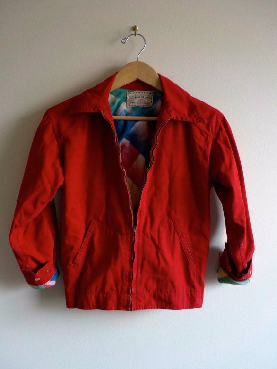 50' RED BOMBER JACKET Rare Incredible/ Bright by JurassicPunk