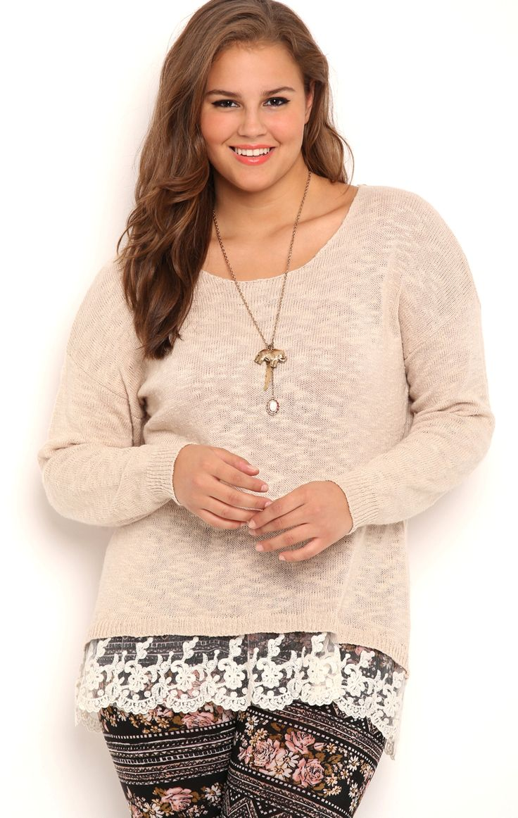 Deb Shops Plus Size Long Sleeve Pullover Top with Crochet Lace Underlay $24.75