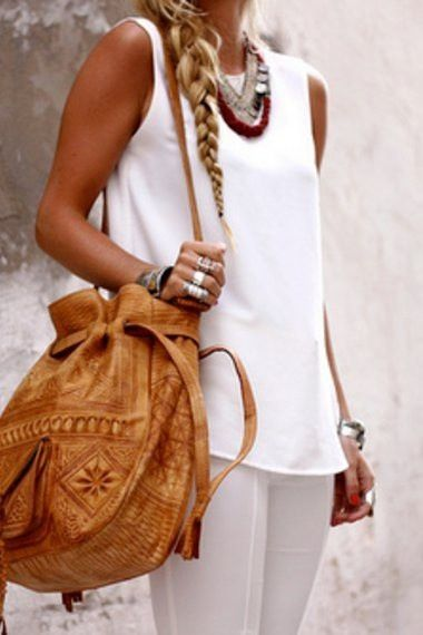 : Fashion, Summer Style, Outfit, White, Currently, Boho, Accessories, Leather Bags, While