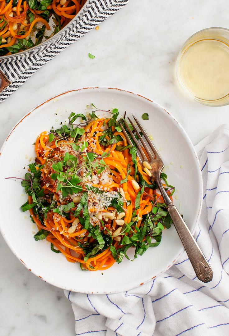 Sweet Potato Noodles with Garlic and Kale