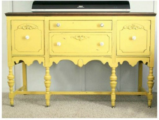 Mustard Yellow Buffet painted a pretty mustard yellow color, Jackson Square by Valspar.