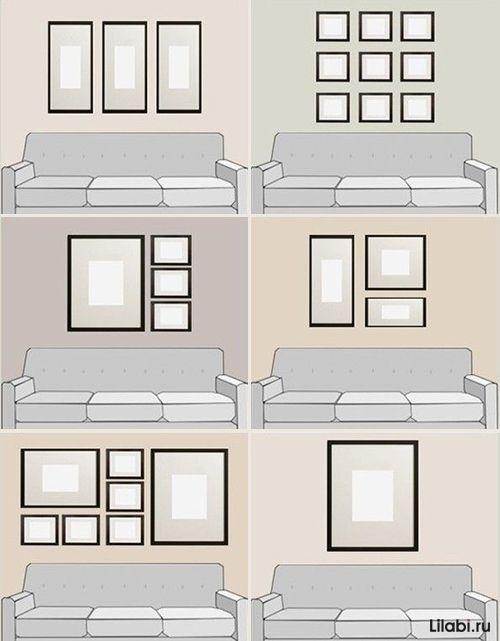 картины над кроватью разные рамки - Поиск в Google