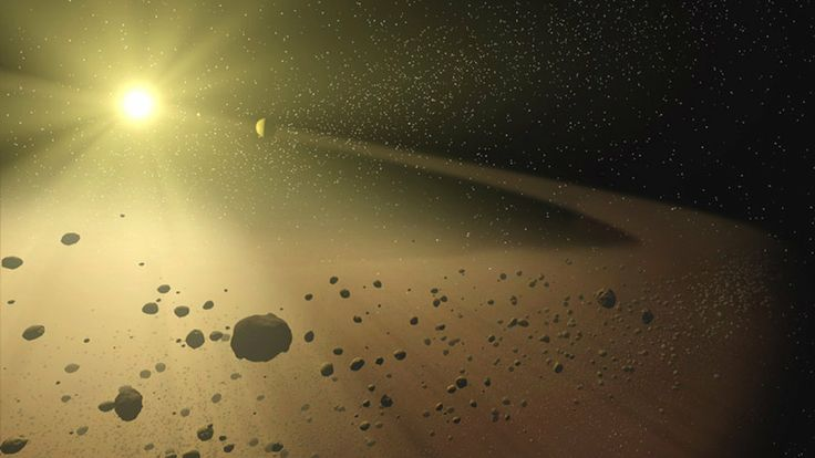 An artist's concept of a narrow asteroid belt orbiting a star similar to our own sun.  Asteroid Belt May Be Just One Big Melting Pot Of Space Rocks  http://www.npr.org