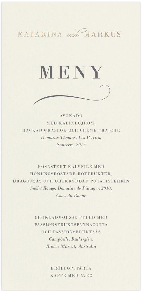 Meny,<br>Delicate Love i gruppen BRÖLLOP / KORT / Menykort hos Calligraphen i Munkfors AB (set60175mc)
