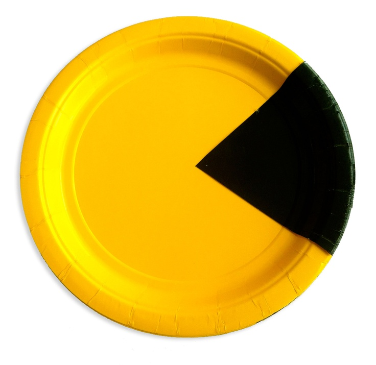 Pacman Paper Plates: Just cut out a triangle from a black plate and glue to yellow plate.