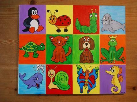 Allemaal beestjes schilderij 40 x 30 cm. Echt super leuk voor in de kinderkamer