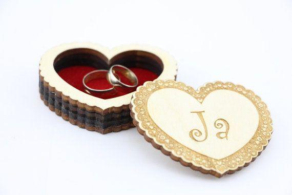 Wedding Rings Box Ring Bearer Box Engagement Ring Box by AniriArt
