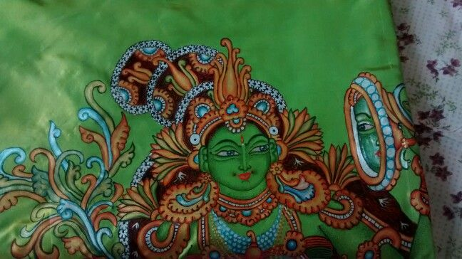Kerala mural painting done on a silk saree for a client , comments pls