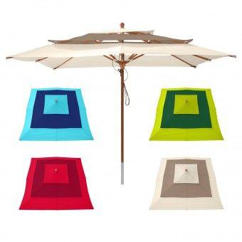 anndora Sonnenschirme 3-lagig Gartenschirm Holz eckig 3x3m - verschiedene Farben