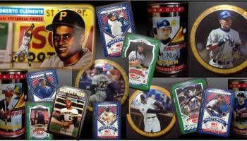 Colección de latas o cajas metálicas de tarjetas de béisbol
