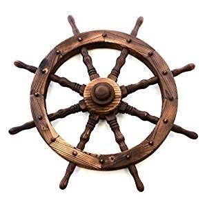 ⚓ Piratenzimmer: Tolle Deko für ein Unterwasser Kinderzimmer oder Piratenzimmer: Steuerrad aus  Holz | Maritime Wand Dekoration | Wandgestaltung Schiff