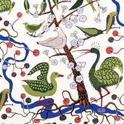 Sweden Josef Frank for Svenskt Tenn Green Birds 315 Linen (designed in)1943-1945