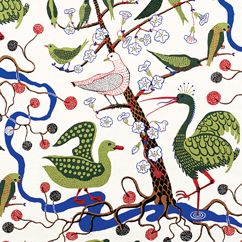 Green Birds Textile by Josef Frank -  inspired by The Green Book of Birds by Frank G. Ashbrook.