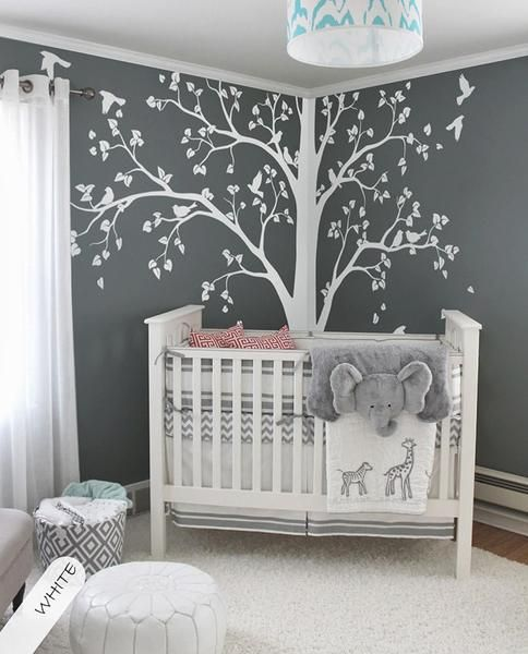 baby bedroom home art decor cute huge tree with falling leaves and rh pinterest com baby room themes gender neutral baby room themes 2019