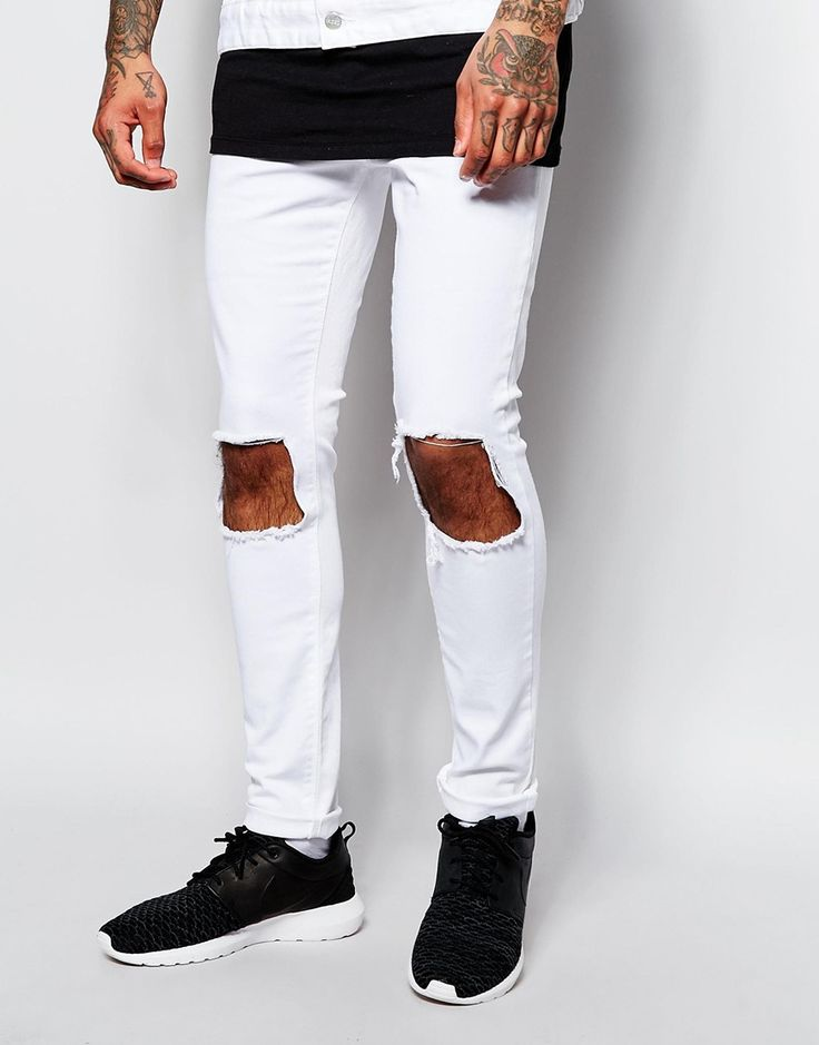 Image 1 of Jaded London Super Skinny Jeans With Frayed Knee Rips