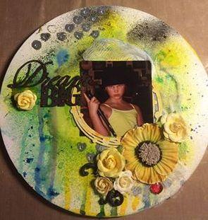 Mixed Media, My girl, Circle Canvas, Paste, Flowers, Glimmermist, Silks, Blue Fern Studios