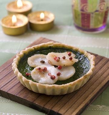 Tartelettes aux noix de Saint-Jacques, épinard et wasabi - Recettes de cuisine Ôdélices