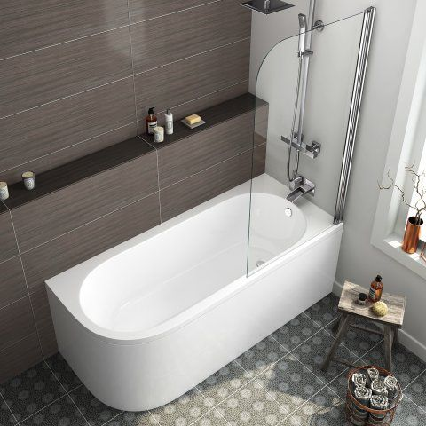 1700mm Corner Back to Wall Bath & Screen (Includes Panels) - Right Hand - soak.com