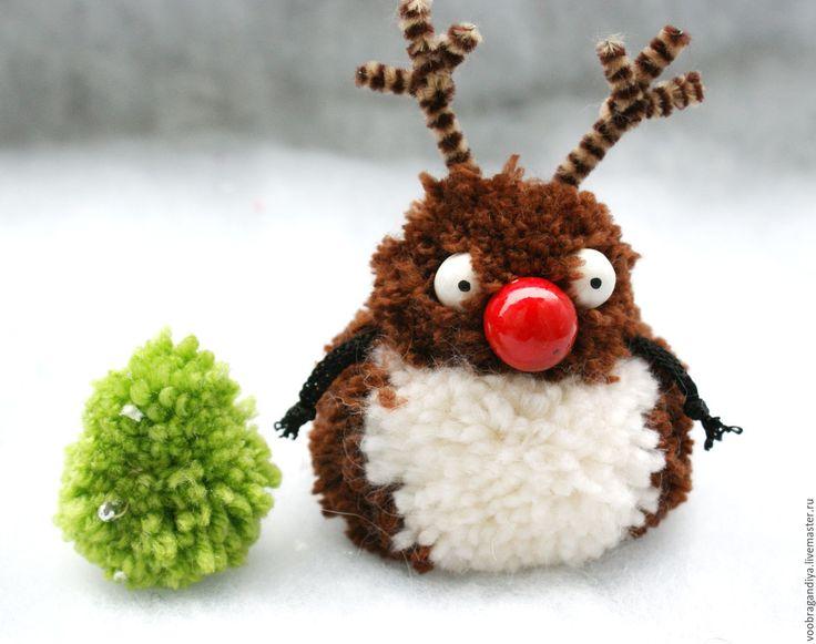 Олененок Рудольф - коричневый, олень, олененок, олень игрушка, новогодний подарок, елочное украшение pompom