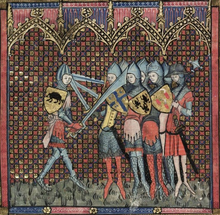 ATHENAIA - Arms & Armour Database: examples 0f arm shields and falchion, 14th c illumination