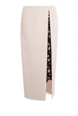 Contrast Lace Wool Crepe Maxi Pencil Skirt by Marios Schwab