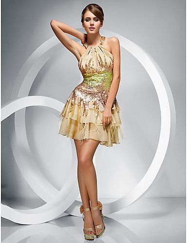 Cocktail Party/Homecoming Dress - Champagne A-line/Princess Jewel/Halter Short/Mini Chiffon/Sequined – USD $ 149.99