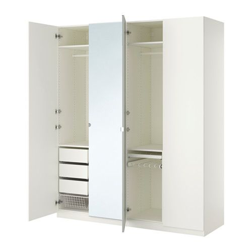 IKEA - PAX, Wardrobe, , 10-year Limited Warranty. Read about the terms in the Limited Warranty brochure.</t><t>You can easily adapt this ready-made PAX/KOMPLEMENT combination to suit your needs and taste using the PAX planning tool.</t><t>If you want to organize inside you can complement with interior organizers from the KOMPLEMENT series.</t><t>Adjustable feet make it possible to compensate for any irregularities in the floor.