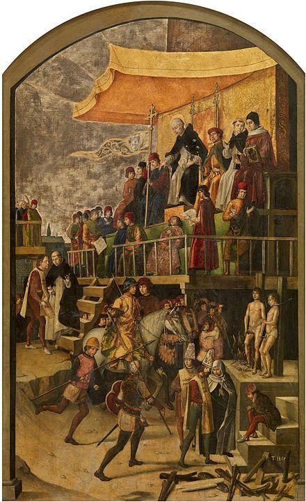 Saint Dominic presiding over an auto-da-fé, by Pedro Berruguete (around 1495)[30]