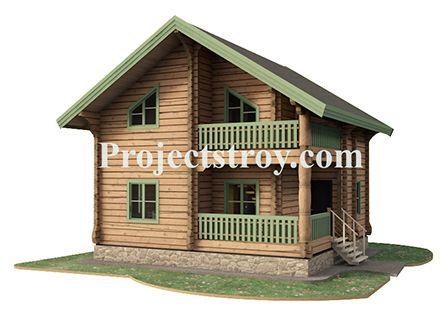 Небольшой деревянный дом из лафета 8 х 7.5 м.  Проект дома правильной прямоугольной формы. По пятну застройки 65 кв. м со всеми помещениями и комнатами для постоянного проживания семьи.  Помещения:  - терраса; - тамбур; - 2 санузла; - бойлерная; - кухня-гостиная; - 4 спальни; - балкон второго этажа; - кладовая на втором этаже.