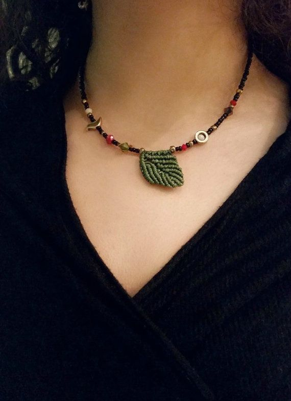 Beaded Boho NecklaceGreen leaf necklace styleblack by betsyarts