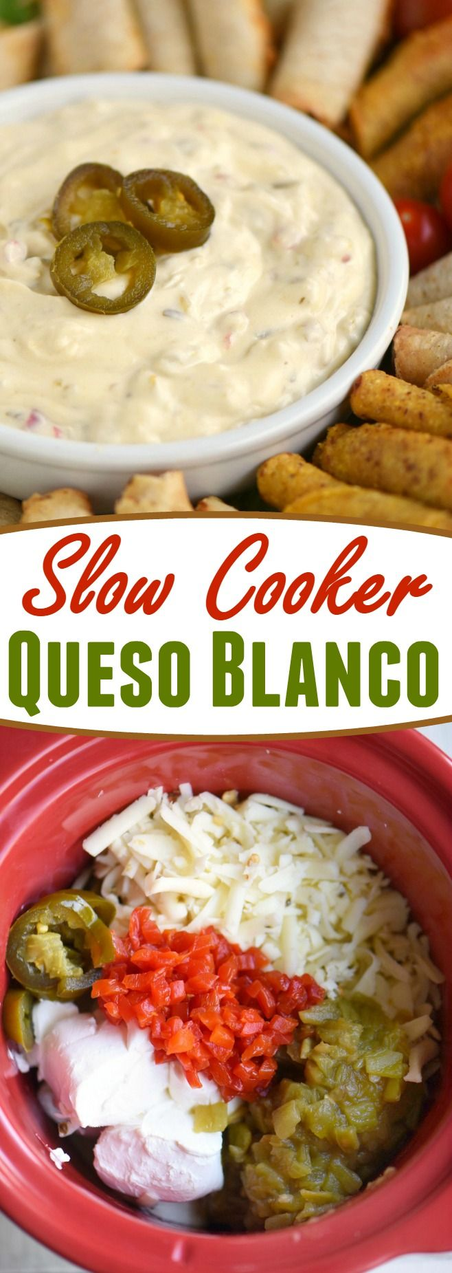 Spicy, cheesy, and totally delicious, this easy Slow Cooker Queso Blanco is what you want to be serving at your next party! Just a handful of ingredients and you're on your way to your new favorite dip!: