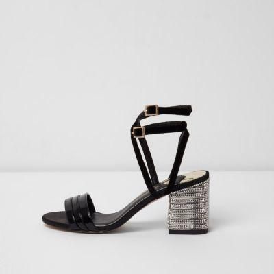 River Island Womens Black wide fit strappy rhinestone heel sandals
