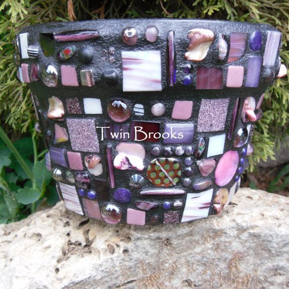 Purple Mosaic Flower Pot by twinbrooks on Etsy, $50.00