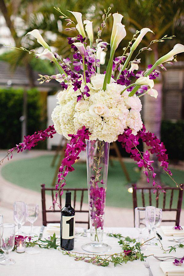 black white purple wedding reception%0A Wedding Ideas for Stunning Tall Centerpieces  MODwedding