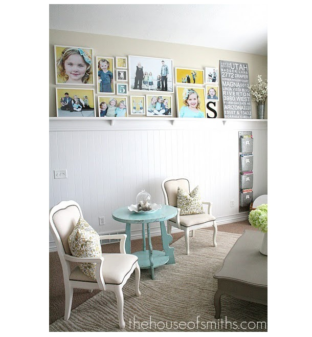 Pictures on high shelf: Nurseries Colors, Color Schemes, Photo Walls, Photo Ledge, Nice Colors, Offices Photo, Photography Studios, Photo Collages, Future Photography